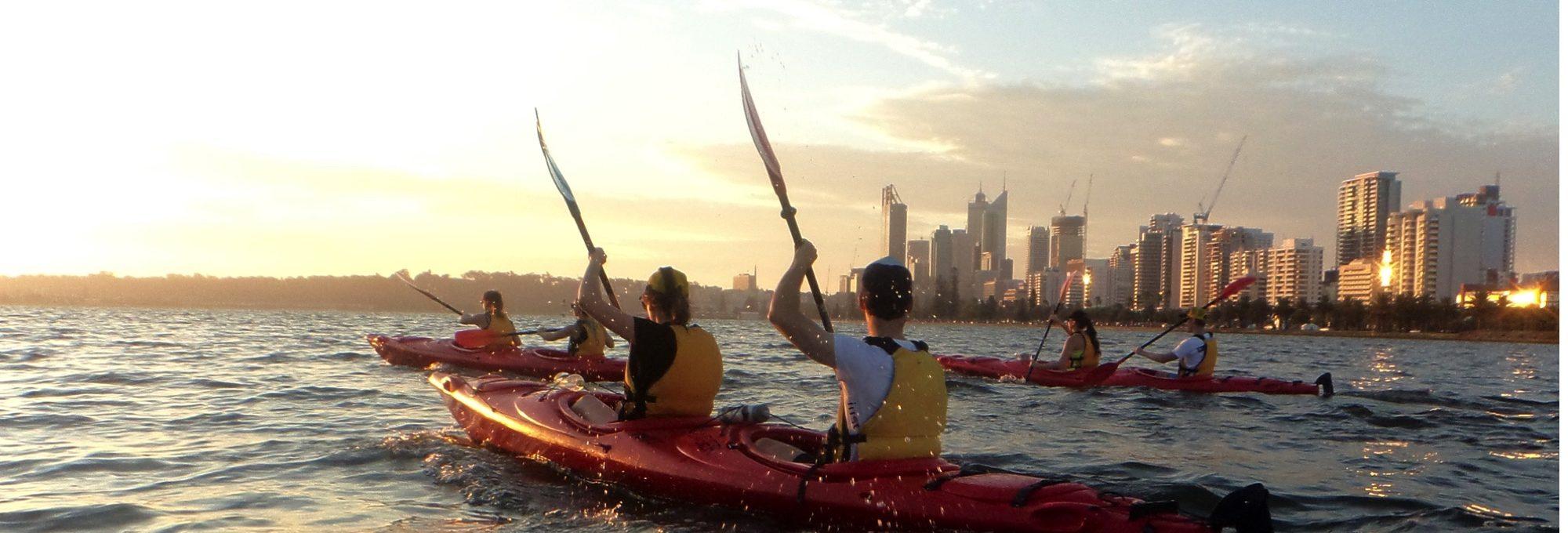 An image two individuals kayaking in Perth thru Kayak Hire Perth